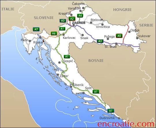 Carte des autoroutes croates