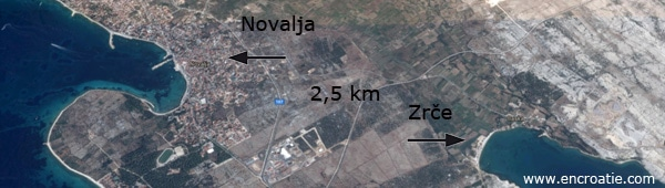 croatie-novalja-zrce-distance-carte