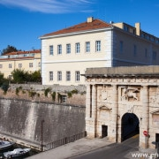 The Land Gate to the Old City of Zadar, Croatia, erected in 1543, Renaissance style with the Venetian winged lion over its arch.