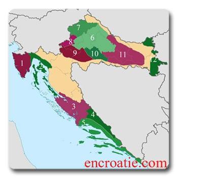 Vins de Croatie - Carte