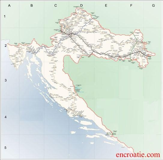 Carte des chemins de fer croates