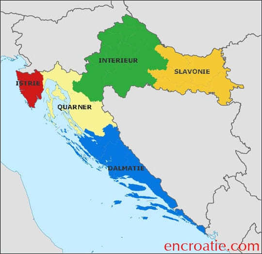 Carte des regions croates