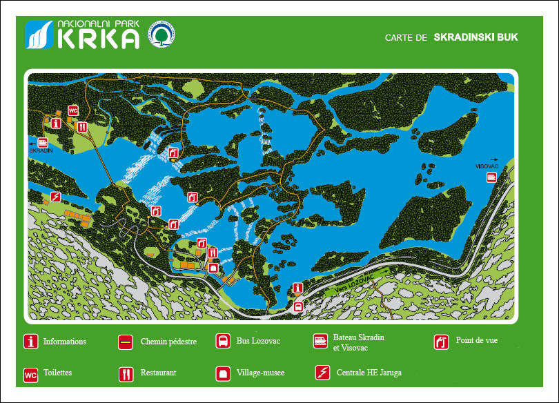 Parc national Krka en Croatie   Guide, carte, hotel, appartement