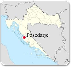 Posedarje en Croatie - Carte